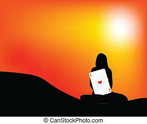 girl holding a heart ace card
