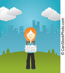 Girl holding a map