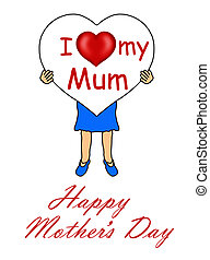 Girl holding a Mother's Day heart