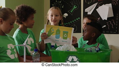 Girl holding a poster about recyclable materials in the ...