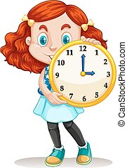 Girl holding a round clock