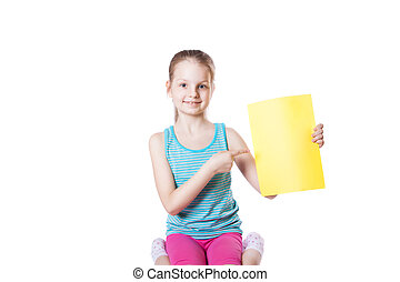 girl holding a sheet of paper
