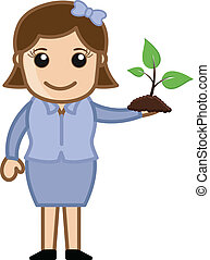 Girl Holding a Small Plant - Vector