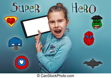 girl holding a tablet and shouting his mouth open super hero super