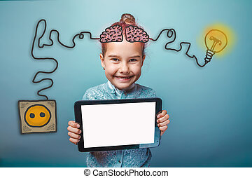 baby girl holding a plate and having fun smiling happy igniter charge charging cord plug wires and sketch infographics