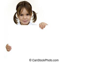girl holding a white banner - little girl holding a white...