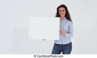 Girl holding a white banner