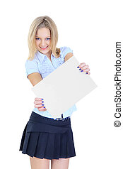 Girl holding a white sheet of paper