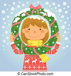 girl holding a wreath