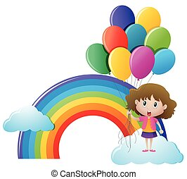 Girl holding balloons with rainbow background