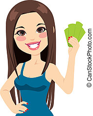 Girl Holding Bank Notes - Young beautiful girl holding money...