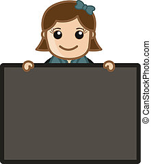 Girl Holding Blank Ad Board