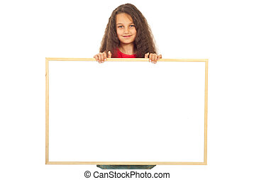 Girl holding blank banner