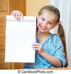 Girl holding blank sign
