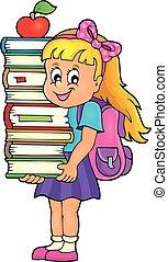 Girl holding books theme image 1