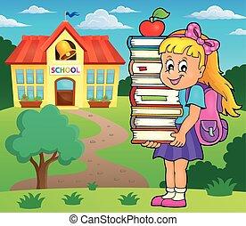 Girl holding books theme image 2 - eps10 vector...