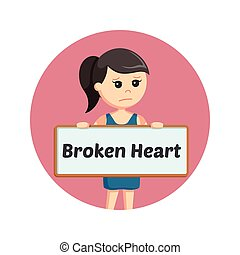 girl holding broken heart sign in circle background