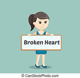 girl holding broken heart sign