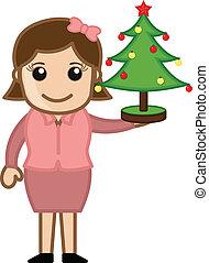 Girl Holding Christmas Tree