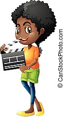 Girl holding clapboard on white background
