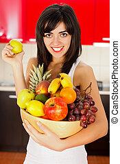 Girl holding Fruit Dish