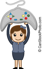 Girl Holding Game Remote Vector
