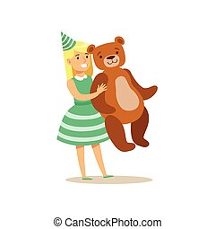 Girl Holding Giant Teddy Bear, Kids Birthday Party Scene With Cartoon Smiling Character