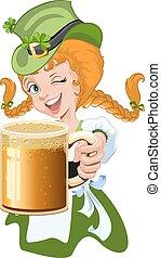 Girl holding glass beer mug