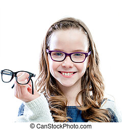 Girl holding glasses in hand.