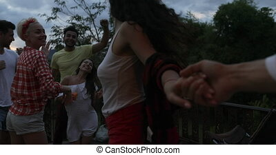 Girl Holding Man Hand Join People Dancing Having Barbecue...