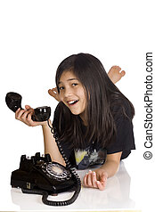 Girl holding old rotary phone