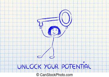 girl holding oversized key, unlock your potential - unlock...