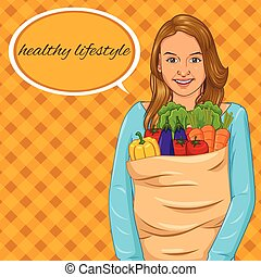 Girl Holding Paper Bag with Full of Vegetables