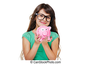 girl holding piggy bank closeup portrait