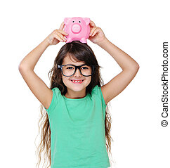 girl holding piggy bank on head