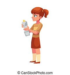 Girl holding plastic bottle, waste, garbage recycling concept