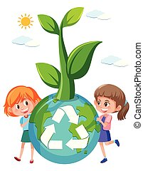 Girl holding recycle globe