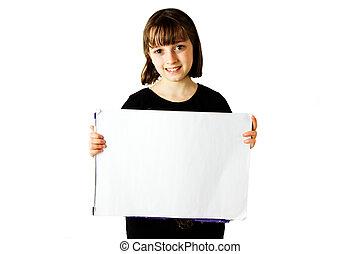 Girl Holding Sign 1