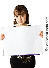 Girl holding sign 2