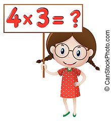 Girl holding sign with math problem
