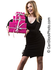 Girl holding stack of pink gift boxes