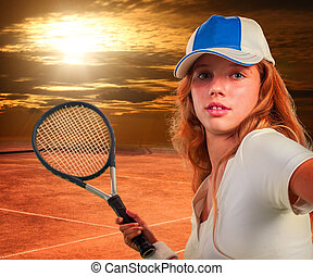 Girl  holding tennis  racket on sun sky with clouds.