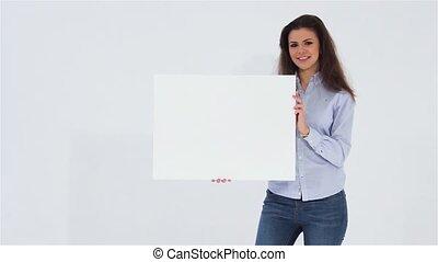 Girl holding white banner
