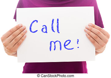 Girl holding white paper sheet with text Call me