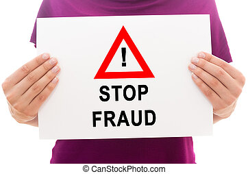 Girl holding white paper sheet with text Stop fraud