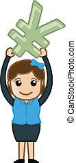 Girl Holding Yen Symbol Vector