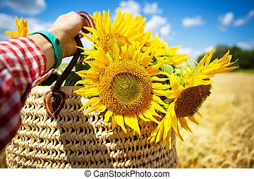 Girl holds a bouquet of sunflowers in a straw bag on a background of wheat field.