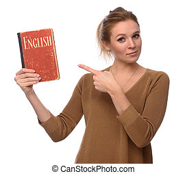 girl holds an English Dictionary book