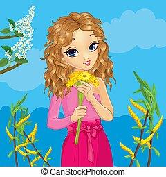 Girl Holds Flowers On Spring