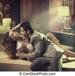 girl, homme, toucher, fabuleux, élégant